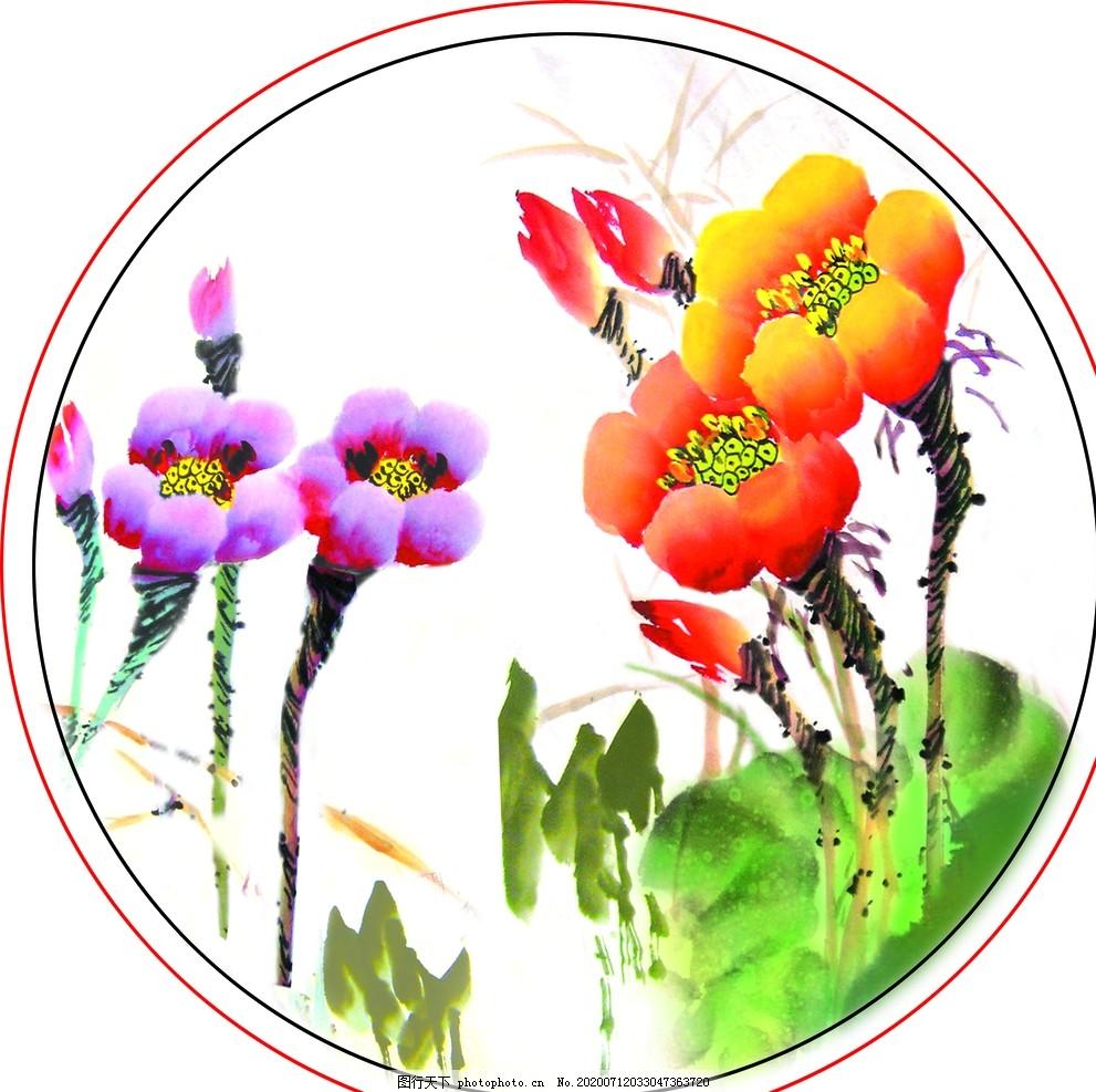 紫紅,黃花,紅花,紫花,水草,綠草,國畫