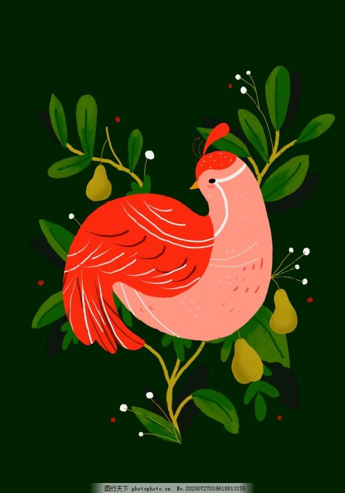 小鸟插画,飞禽,动物,手绘,树叶,植物,水果