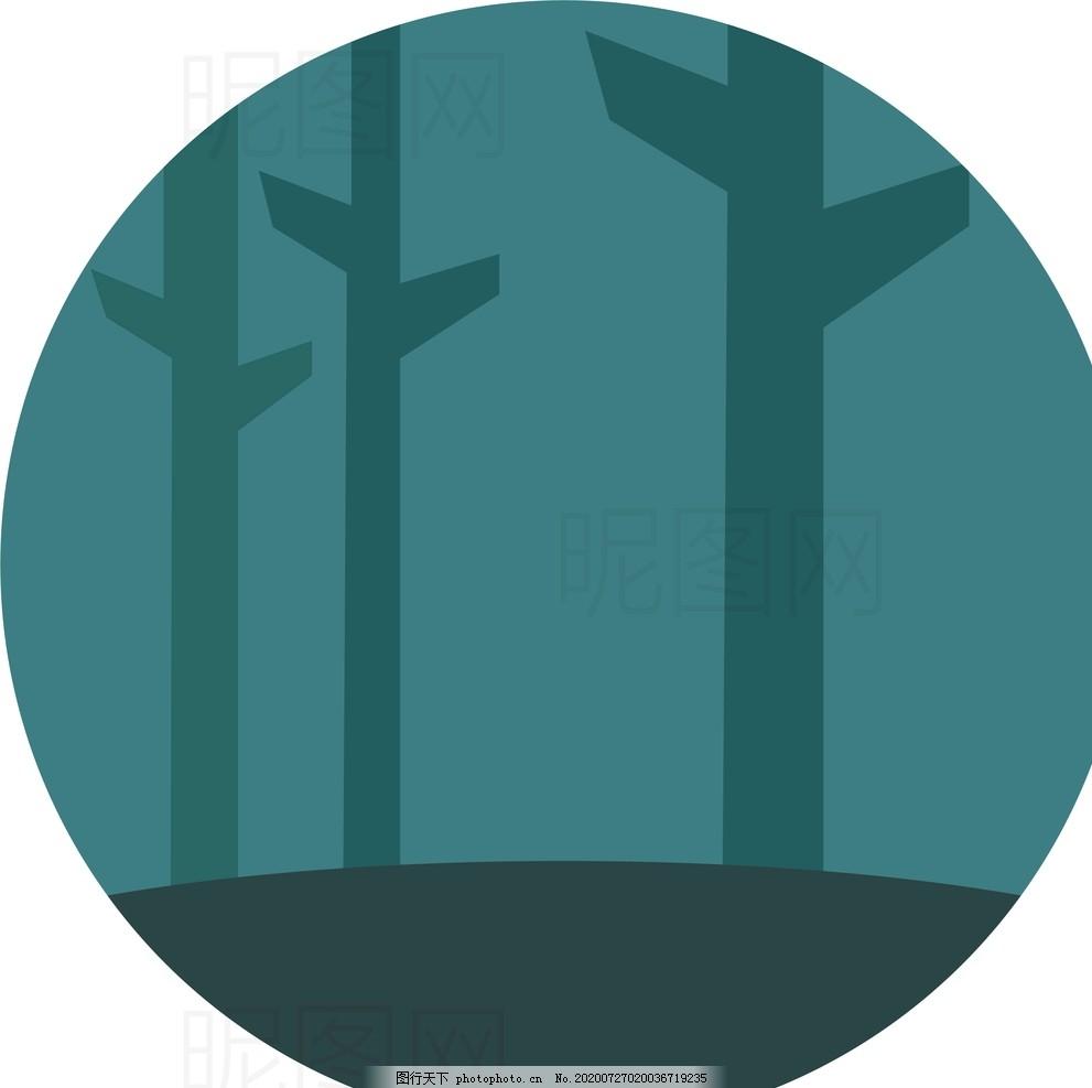 森林,UI,标识,标志,LOGO,扁平,矢量