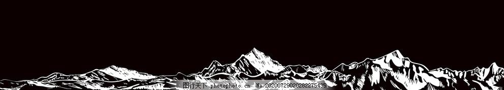 雪山,矢量,黑背景雪山,线稿,剪影,矢量素材,设计