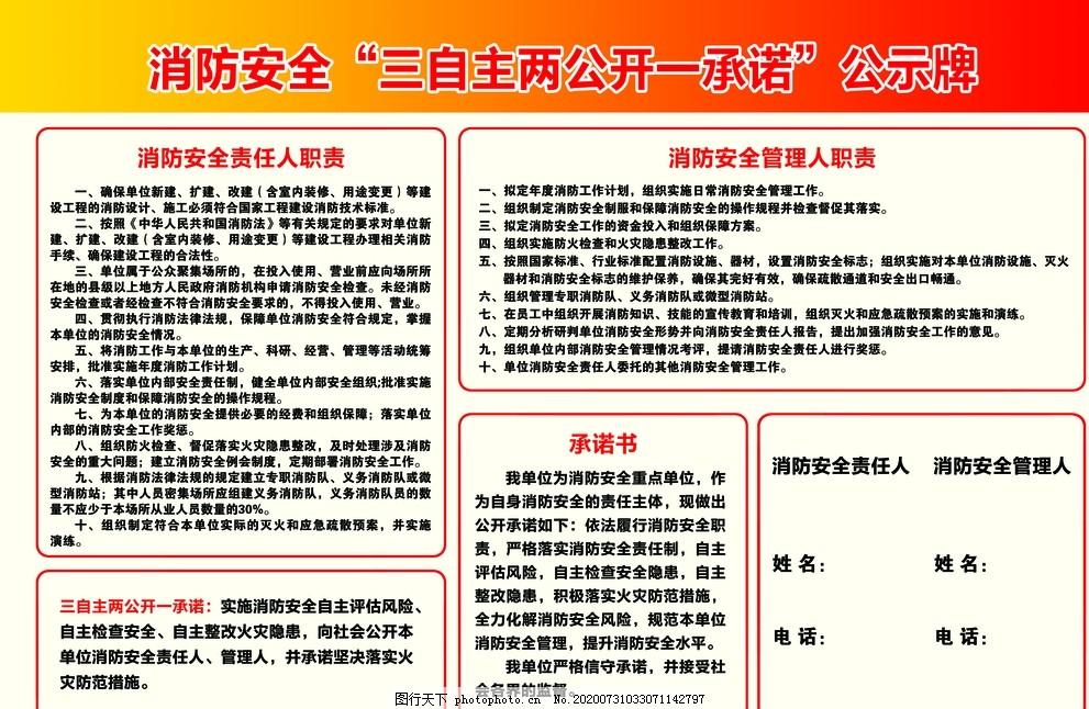 消防安全三自主,两公开一承诺,公示牌,消防主题,消防安全公示,设计,PSD分层素材