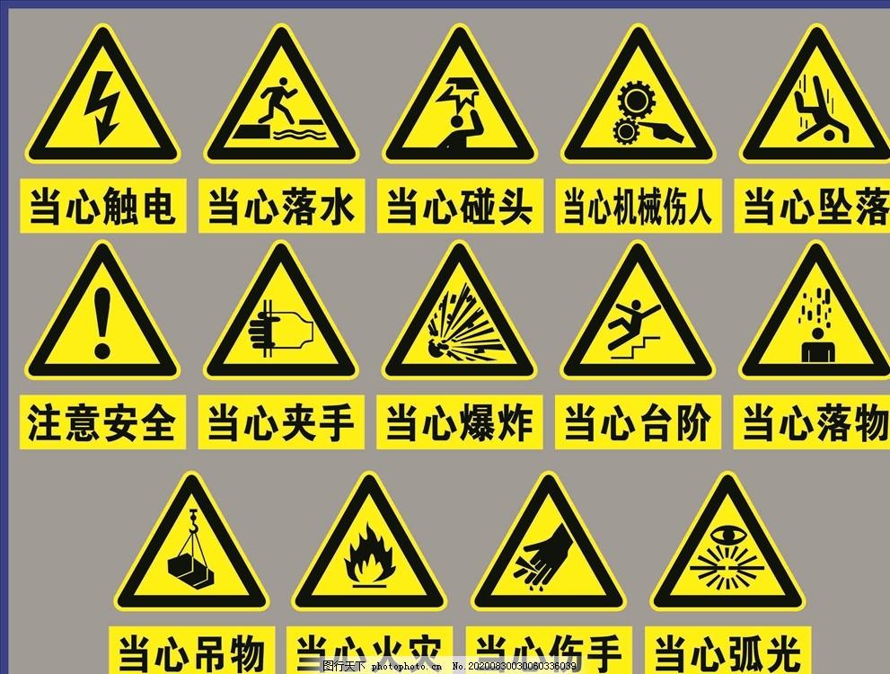 當心標志,安全標牌,當心觸電,落水,機械傷人,墜落,工地禁止牌