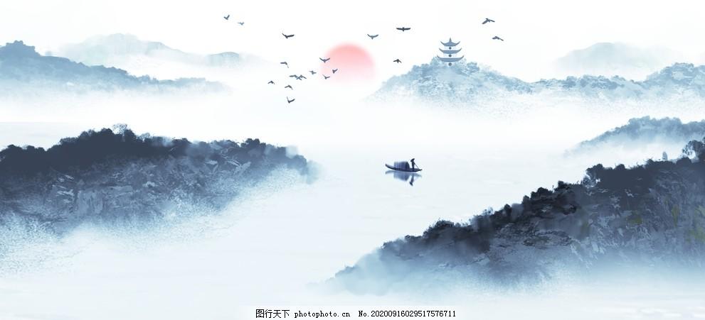 中国风新中式山水画,水墨画,水墨装饰画,飞鸟,横幅山水画,写意山水,抽象水墨画