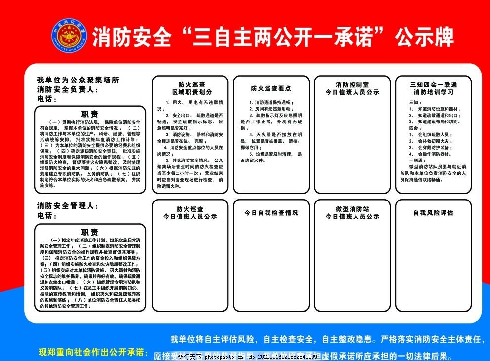 三自主,兩公開,一承諾,公示牌,消防,安全,風險評估