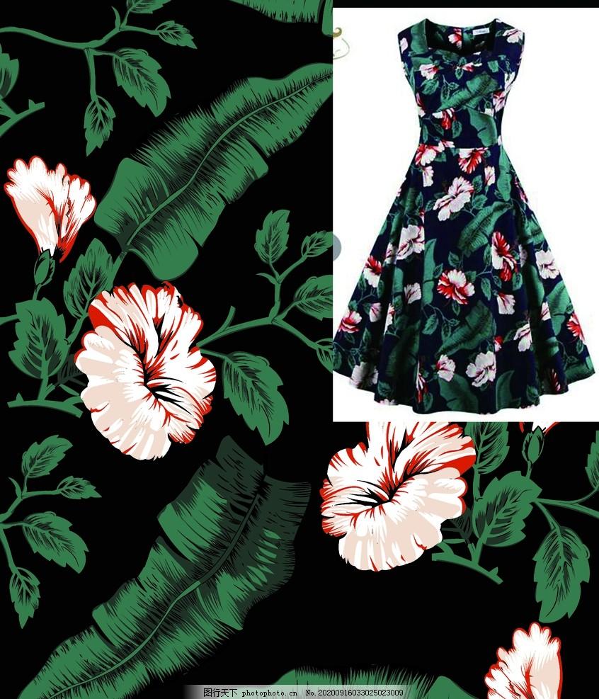 数码印花,热带叶子,棕榈,红棕榈,无缝拼接,棕树叶,欧式花