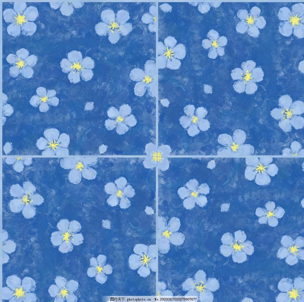 花朵底紋,藍色,布料,拼接,設計,底紋邊框,背景底紋