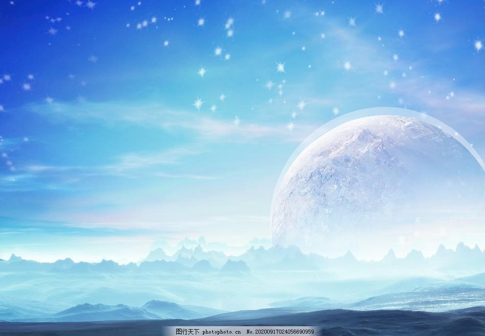 唯美背景,墻畫背景,合成星空,唯美星空,月球,地球,藍色背景